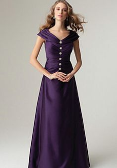 Pretty V Neck Dropped Waist A line With Cap Sleeves Mother of the Bride Dresses - 1300304925B - US$249.99 - BellasDress