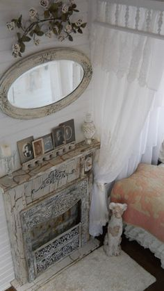 Shabby Chic Tiny Retreat: My Tiny House Decor, House, Updating House, Vintage House, Home Decor, Country House Decor, Shabby Chic Bedrooms, Tiny House Luxury, Faux Fireplace