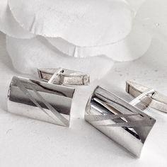 Sterling Silver Cufflinks, Silver Cufflinks, Mid Century Cufflinks Vintage Cufflinks, Men's Jewelry, Rectangular Cufflinks, Mens Cufflinks