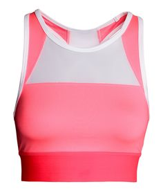 Fully lined, color-block sports bra in fast-drying, breathable functional fabric. | H&M Sport