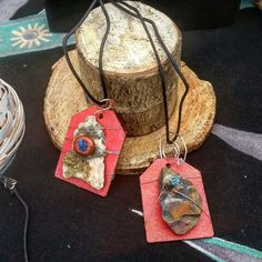 Handmade Pendants: Painted Wood, Wire Work, Colorado Rock, Polished Stone Bead, and Turquoise on black cord. $30 each find #thesameboutique on Facebook for these and more #Colorado made #jewelry & more