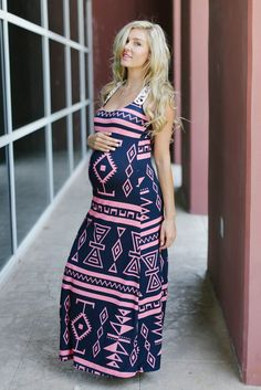 Navy-Blue-Pink-Tribal-Printed-Crochet-Back-Maternity-Maxi-Dress