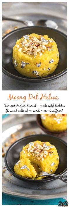 Delicious Moong Dal Halwa is a famous Indian dessert. It's rich, aromatic and flavored with saffron and cardamom. A special dessert for special occasion! #dessert #indian Find the recipe on http://www.cookwithmanali.com