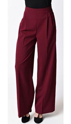 Hell Bunny Retro Style Burgundy Red High Waist Hubertine Wide Leg Pants