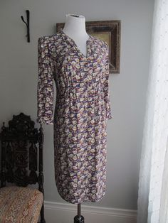 BODEN Multi-color Floral Print 100% Rayon Fully Lined Empire Waist Dress Size 10 #Boden #EmpireWaist #WeartoWork