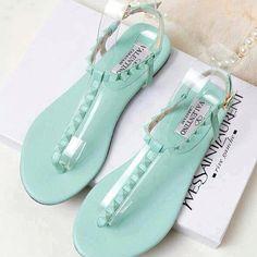 Studded Mint Sandals <3