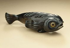 Pilot Fish, 19th century  Netsuke, Black persimmon wood with inlays,