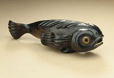 Pilot Fish, 19th century  Netsuke, Black persimmon wood with inlays,