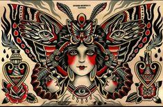 Traditional lady moth tattoo.