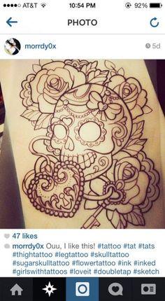 Like it for tatoo Time Tattoos, Leg Tattoos, Sleeve Tattoos, Tattoo Thigh, Tatoos, Lock Tattoo, Flower Tattoo Designs, Flower Tattoos, Tattoo Sketches