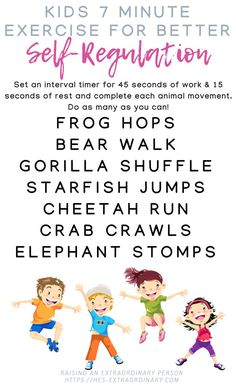 Children Obesity Improve Emotional Regulation in 7 Minutes per Day with this fun animal-themed children's exercise activity. Exercise Activities, Gross Motor Activities, Sensory Activities, Learning Activities, Preschool Activities, Physical Activities, Calming Activities, Sensory Diet, Emotional Regulation