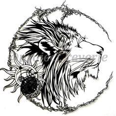 彼の見つめる先は  綺麗で力強い感じのライオンが切りたかったので。 左下辺りにある円形の物は、月と太陽を表しています。  #切り絵