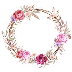 Frames floral em png para baixar clique na imagem para ampliar só depois salve Frame Floral, Flower Frame, Flower Crown, Flower Circle, Deco Floral, Art Floral, Floral Logo, Watercolor Logo, Watercolor Flowers