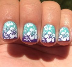 For tropical nails, shades of blue, pink, orange, and green work just perfectly. We have gathered some 50 hot tropical nail art designs. Beach Nail Art, Beach Nail Designs, Nail Art Designs, Nails Design, Plage Nail Art, Trendy Nails, Cute Nails, Hawaiian Flower Nails, Hawaiian Nail Art