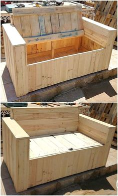 DIY Wood Pallet Accomplishments Need to structure some furniture from wood pallets where you can without much of a stress place valuable embellishments in the base? This intriguing C. Diy Wood Pallet, Wooden Pallet Projects, Easy Wood Projects, Cool Woodworking Projects, Diy Pallet Furniture, Wooden Pallets, Pallet Ideas, Rustic Furniture, Furniture Ideas