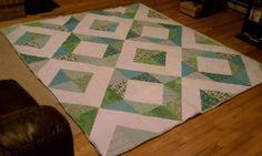 modern HST green/blue queen quilt