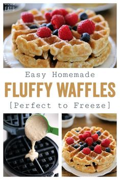 The best waffle recipe I have tried so far! Use this Fluffy Waffle Recipe to make thick, fluffy waffles without the hassle of beating egg whites! Make a double-batch and freeze for homemade waffles in minutes. Waffle Recipe Without Eggs, Easy Waffle Recipe, Waffle Maker Recipes, Krusteaz Waffle Recipe, Best Belgian Waffle Recipe, Waffles For Two Recipe, Waffle Recipe With Egg Whites, Waffle Recipe Almond Milk, Small Batch Waffle Recipe
