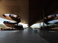 Cantine Antinori, Siena - by Archea Associati Art Et Architecture, Amazing Architecture, Contemporary Architecture, Architecture Details, Atrium, House Of Beauty, Spa Design, Corten Steel, Stair Railing