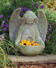 Guardian Angel with Children Solar Light Up Garden Statue Angel