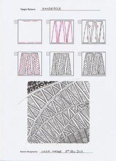 Banderole_steps_Lizzie Mayne Zentangle pattern, step by step. by tamra