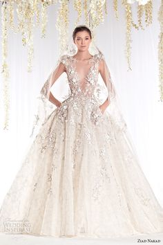 ziad-nakad-2015-haute-couture-bridal-wedding-dress-leaf-applique-plunging-v-neckline-ball-gown-with-pockets