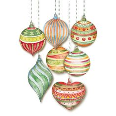 Christmas balls hand painted watercolor by DottyCreative on Etsy
