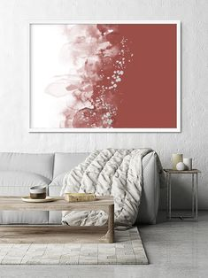 Abstract Wall Art in Terracotta Red Earth Tones Decor   Etsy Abstract Watercolor Art, Abstract Wall Art, Modern Wall Decor, Room Wall Decor, Terracotta, Earth Tone Decor, Modern Prints, Art Prints, Triangle Print