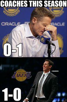 RT @NBAMemes: Steve Kerr: 0-1. #DubNation  Luke Walton: 1-0. #LakeShow - http://nbafunnymeme.com/nba-funny-memes/rt-nbamemes-steve-kerr-0-1-dubnation-luke-walton-1-0-lakeshow