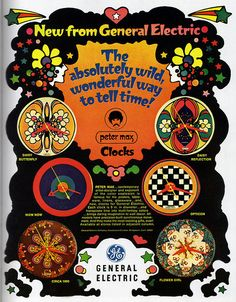 "1969 Magazine Advertisement  ""Peter Max clocks""  General Electric"