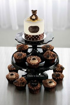 Brown bear cupcakes tower by Bake-a-boo Cakes NZ, via Flickr
