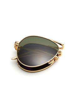 ec738e355f Linda Farrow - Titanium Folding Aviator Sunglasses