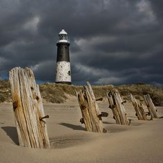 Spurn Lighthouse, Kilnsea, East Yorkshire. Built in 1895 and decommissioned in 1985. The tower is 128ft high