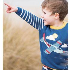 9b520c15ce Frugi Organic Jack Knitted Jumper - Marine Blue Plane. Baby goes Retro