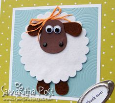 A big thanks go to Jo , whose comment on my last muddy, mutant-mouthed Suffolk sheep-pig post helped me sort out a more appropriate lookin. Eid Crafts, Easter Crafts, Baby Cards, Kids Cards, Diy For Kids, Crafts For Kids, Sheep Cards, Timmy Time, Shaun The Sheep