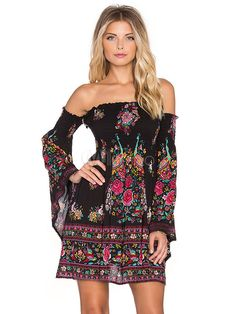 De l'épaule robe d'été imprimée Flare manche plissé robe bohème pour femmes - Milanoo.com