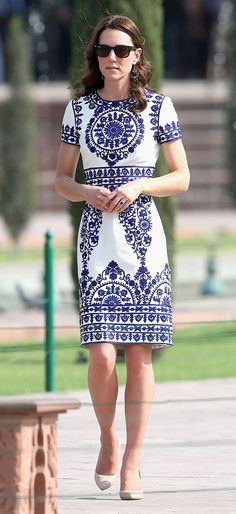 For a visit to the Taj Mahal, the Duchess opted for this blue and white Naeem Khan dress. We love everything about it, from the print to the beautiful cut.