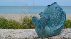 Nautical decor fish shaped planter in Palm Beach, FL. The Pottery Patch.