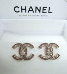 Brand New 2014 CHANEL CC Logo Pink Enamel Earrings In Solid Gold