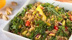 This recipe pairs quinoa with the savory Mediterranean flavors of garlic, white wine, lemon and rosemary and comes together much more quickly than traditional rice risottos. This recipe comes to us from Sharon Palmer, the Plant-Powered Dietitian. Serves 6 1 tablespoon extra virgin olive oil ½ onion, diced ½ red bell pepper, diced