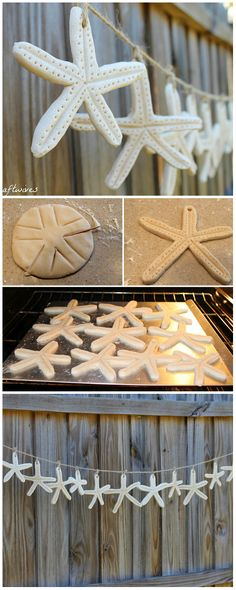 DIY ● Tutorial ● starfish salt dough garland, this would be so Mich cheaper, and we could put their initials in them!!! Man, genious right here!
