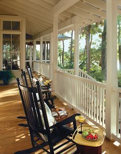 Roofed Patio Designs and Porches, Beautiful Outdoor Seating Areas for Summer Tea Party Veranda Design, Patio Design, House Design, Home Porch, House With Porch, Southern Living House Plans, Country Living, Outdoor Seating Areas, Best House Plans