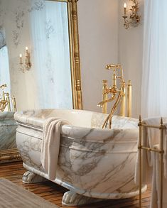 That is a solid Carrara Marble bathtub. I could not imagine walking into a bathroom & seeing that. Dream Bathrooms, Beautiful Bathrooms, Luxury Bathrooms, Marble Bathtub, Le Logis, Home Living, Kitchen And Bath, Kitchen Cart, Bathroom Inspiration