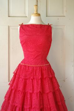 1950s Scarlet Lace Party Dress / Vintage Red Prom by DalenaVintage, $165.00