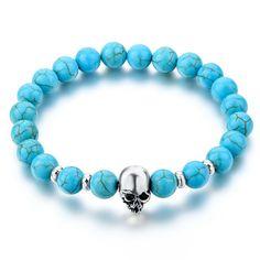 Fashion Natural Stones Skull Bracelet For Women Lava Stone Beads And Tiger Eye Stone Beads Men Bracelet