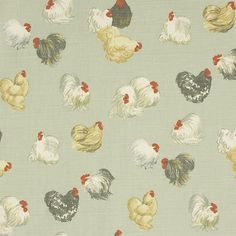 Dining Room. french rooster fabric - Google Search