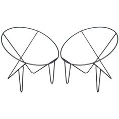 A Pair of Wire Metal Frame Basket Chairs | From a unique collection of antique and modern lounge chairs at https://www.1stdibs.com/furniture/seating/lounge-chairs/