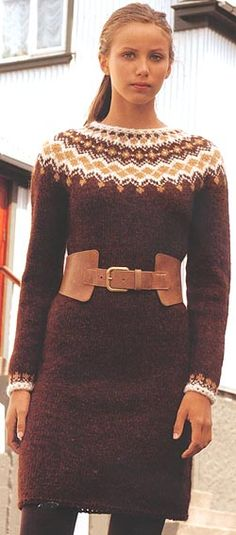 I made this Icelandic sweater dress for my sister.