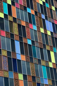 The decorative, polychrome exterior of industrial glass company Kaveh's Tehran office