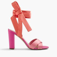 Satin colorblock sandals with ankle wraps (affiliate)