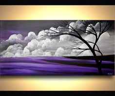 ORIGINAL Tree Painting 48 x 24 Abstract Landscape por OsnatFineArt
